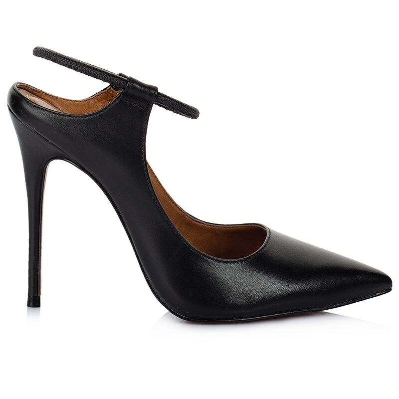 GIANNA Ladies Stretch Court Heel  -  black