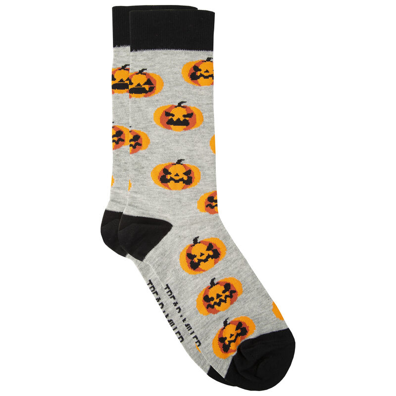 Tread & Miller Jack O' Lantern Sock -  grey-orange