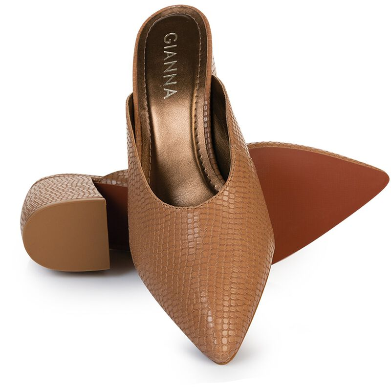 GIANNA Curved Block Mule -  taupe