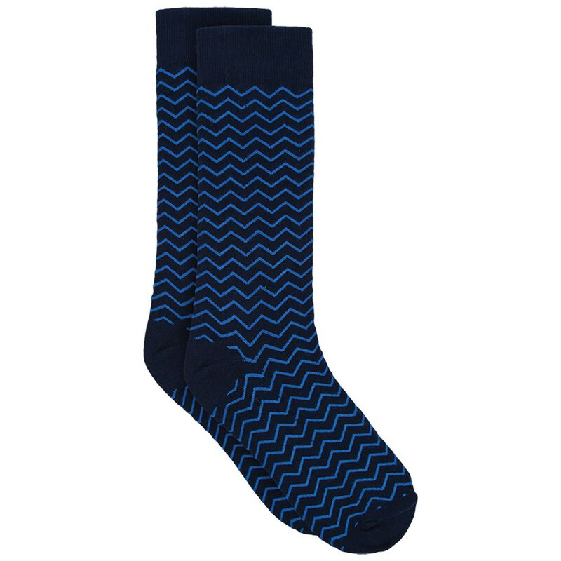 Tread & Miller Men's Zigzag Sock -  navy-royal
